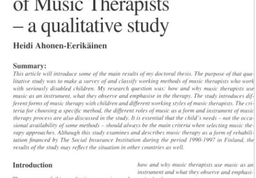 Different Forms of Music Therapy and Working Styles of Music Therapists— A qualitative study